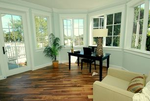 Traditional Home Office with French doors, Hardwood floors, Crown molding