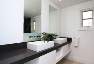 Contemporary Master Bathroom with Double sink, Powder room, Arizona Tile- Black Pearl, Granite, Vessel sink, Soapstone