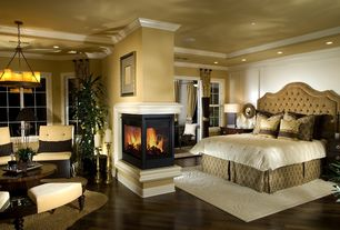 """Contemporary Master Bedroom with Crown molding, Hardwood floors, Restoration hardware pillar candle round chandelier 32"""""""