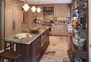 Traditional Kitchen with Standard height, full backsplash, Ceramic Tile, single dishwasher, wall oven, Undermount sink