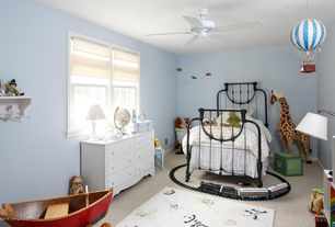 Traditional Kids Bedroom with Ceiling fan, Carpet