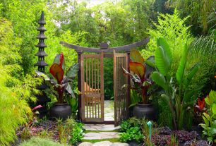 Asian Landscape/Yard with Garden Path Gate, Plant Delights Nursery Musa sikkimensis (Sikkim Hardy Banana), Pathway, Gate