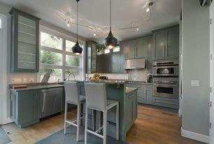 Contemporary Kitchen with Glass panel, U-shaped, Flush, Armstrong Flooring - Oak in Warm Caramel, Pendant light, flush light