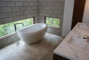 Contemporary Master Bathroom with Complex marble counters, Double sink, Undermount sink, Freestanding, Master bathroom