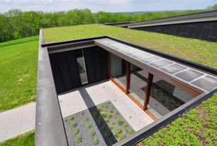 Modern Exterior of Home with Grass roof, Raised beds, Pathway