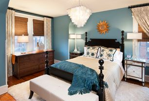 Eclectic Master Bedroom with Worlds away square capiz shell chandelier, Chandelier, Rion furniture - new roma queen bed