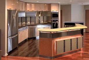 "Modern Kitchen with Paint1, Artkraft Kitchens COMO HP BLONDE MICROLINE, AVANTGARD 18"" X 18"" - NOCE, Corian counters, Flush"