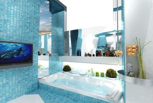 Contemporary Master Bathroom with ceramic tile floors, Master bathroom, Standard height, Glass tile wall and tub surround