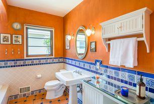 Cottage Master Bathroom with Flush, Detailed wall tile, Bathroom floor tile, terracotta tile floors, Glass counters