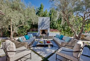 Contemporary Patio with exterior concrete tile floors, Fence, exterior tile floors, Pathway