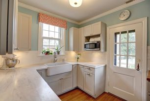 Country Kitchen with U-shaped, Flat panel cabinets, full backsplash, double-hung window, Complex marble counters, flush light