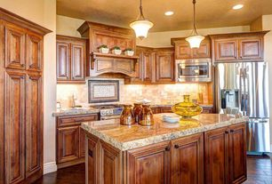 Traditional Kitchen with Kitchen island, Stone Tile, Ms international - siena beige, Pendant light, Complex granite counters