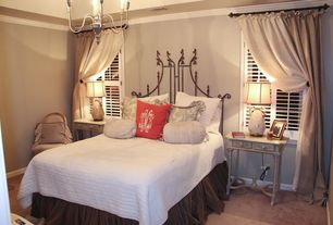 Traditional Guest Bedroom with Standard height, Casement, Chandelier, Carpet, Crown molding