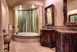 Mediterranean Master Bathroom with drop in bathtub, Complex granite counters, Master bathroom, Undermount sink, Wall Tiles