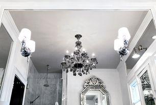 Art Deco Master Bathroom with Glass panel, Standard height, Master bathroom, Chandelier, Shower, Casement, Rain shower, Flush