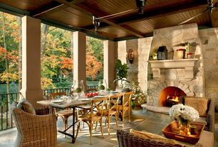 Craftsman Porch with Deck Railing, exterior stone floors, Wrap around porch, outdoor pizza oven