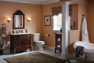 Traditional Master Bathroom with Paint 1, Corian counters, stone tile floors, Master bathroom, Columns, Wall sconce, Clawfoot