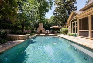 Traditional Swimming Pool with Deck Railing, Pool with hot tub, exterior stone floors, Outdoor kitchen, outdoor pizza oven