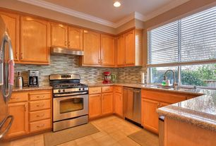 Transitional Kitchen with Undermount sink, U-shaped, Crown molding, limestone tile floors, High ceiling, Ceramic Tile