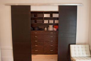 Modern Closet with Hardwood floors, Knoll Mies van der Rohe Barcelona Chair, Built-in bookshelf, specialty door, Chair rail