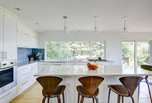 Contemporary Kitchen with Pendant light, European Cabinets, L-shaped, Standard height, Flush, Simple granite counters