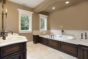 Traditional Master Bathroom with Master bathroom, Durango, limestone tile floors, Double sink, Crema marfil, Wall sconce