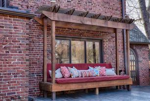 Rustic Deck with Trellis, picture window, Deck Railing, French doors