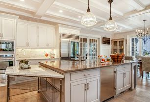 Traditional Kitchen with Complex granite counters, Stone Tile, Flat panel cabinets, Exposed beam, French doors, Pendant light