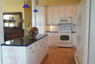 Traditional Kitchen with Bar stools, Dainolite 1 Light Pendant, L-shaped, Pendant light, Flush, Subway Tile, White appliances