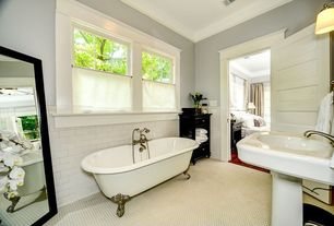 "Traditional Full Bathroom with Crown molding, Clawfoot, penny tile floors, Giorbello Subway 6"" x 3"" Tile in Bright White"