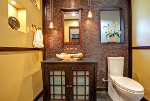 Asian Powder Room with slate tile floors, Flush, Crown molding, Glass panel, Vessel sink, Ceramic Tile, High ceiling
