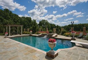 Mediterranean Swimming Pool with Fence, Pool with hot tub, Trellis, exterior stone floors