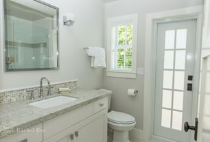 Modern Full Bathroom with frameless showerdoor, Quartz counters, Flush, Undermount sink, Glass panel door, Ceramic Tile