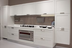 Contemporary Kitchen with Corian-Solid Surface Countertop in Venaro White