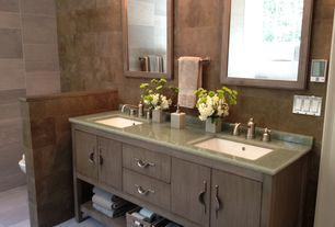 """Traditional Full Bathroom with Sagehill designs maple lincoln street 24"""" framed vanity mirror, Flush, Simple granite counters"""