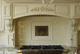 "Traditional Kitchen with Wolf - 48"" sealed burner rangetop, Custom hood, Distressed paint, Gas rangetop, Subway Tile"