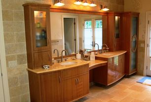 Modern Master Bathroom with Wood counters, Undermount sink, Glass panel, French doors, European Cabinets, specialty door