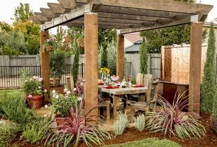 Rustic Patio with Trellis, exterior stone floors, Pathway, Fence, NC Rustic Weathered Wood Rustic Timber Trestle Dining Table