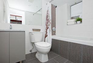 Contemporary Full Bathroom with shower bath combo, Casement, stone tile floors, Undermount sink, Wall Tiles, Bathtub, Paint