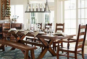 Traditional Dining Room with Rochester Linear Chandelier, Toscana Extending Dining Table, WYNN LADDERBACK CHAIR, Carpet