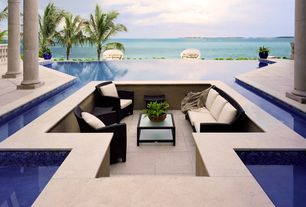 Contemporary Porch with National pool tile jules blue tile, Pathway, exterior stone floors, Infinity edge pool