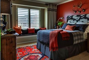 Eclectic Kids Bedroom with Afghan hand-knotted tribal balouchi red/blue wool rug, Interior shutters, Window seat, Carpet