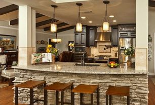 Country Kitchen with Ms international giallo ornamental granite, Limestone Tile, Exposed beam, Undermount sink, One-wall