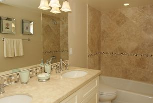 Modern Full Bathroom with Full Bath, no showerdoor, full backsplash, Standard height, Limestone counters, specialty door