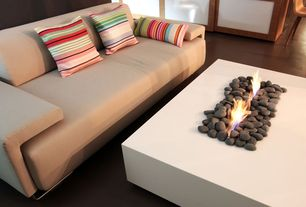 Contemporary Living Room with Ethanol fire table, Zuo Drammen Sofa Sand, Concrete floors