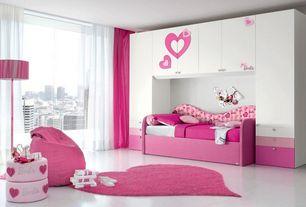 Contemporary Kids Bedroom with Lnr home senses pink heart shaped shag rug, Concrete floors, Custom closet storage, Bunk beds