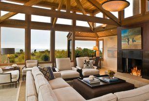 Craftsman Living Room with Transom windows, Beach house, Minka lavery 83-14 8 light calavera bowl large pendant, nutmeg