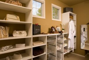 Traditional Closet with terracotta tile floors, John Louis Home Wire Basket for Deluxe Closet System, Built-in bookshelf