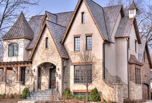 Traditional Exterior of Home with Mahogany iron double door frosted glass solid wood entry door, Wrought iron railing