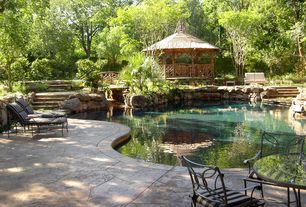 Rustic Swimming Pool with Gazebo, Fence, exterior stone floors, Other Pool Type, Pathway